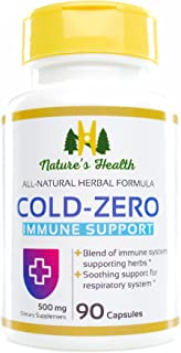 Cold-Zero, Immune Support Supplement, Promotes Defense for Cold and Flu Season, 500 Mg, 90 Capsules, Nature's Health