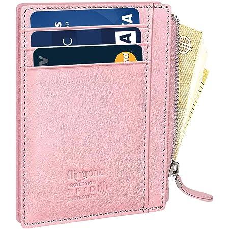 Porte-Monnaie en Cuir Mini Pouch Change Porte-Monnaie avec Porte-Porte-cl/és De Carte De Cr/édit pour Hommes Femmes Rose Rouge