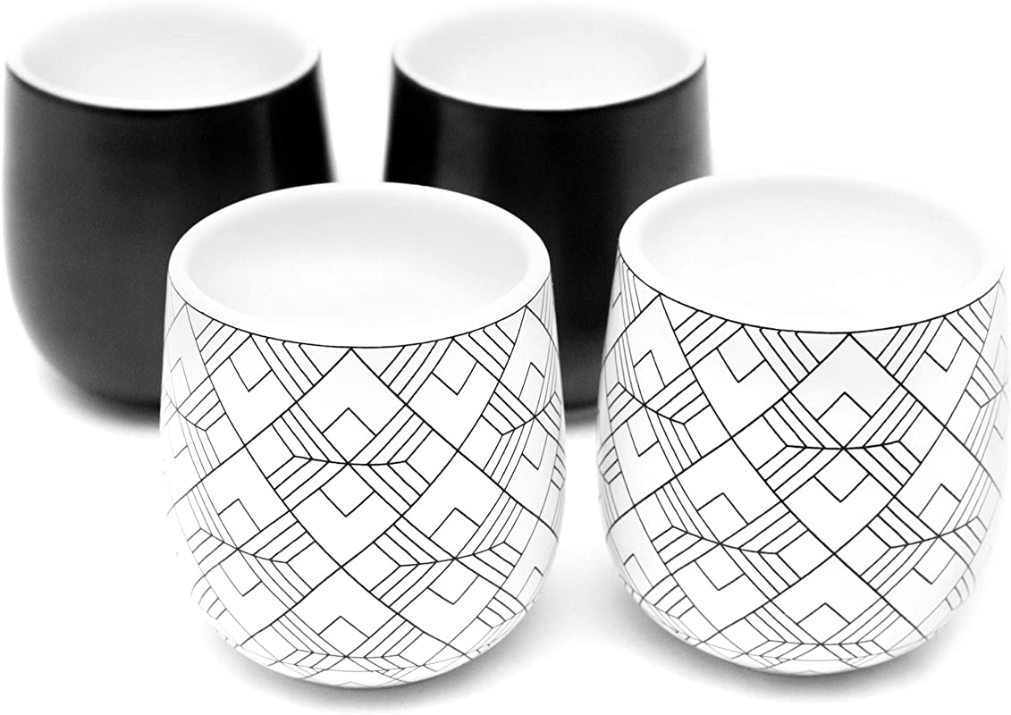 Dobbelt Set Of 4 Double Walled Espresso Cups 2 Ounce 2 Black And 2 Square Pattern Insulated Ceramic Espresso Mugs Modern Contemporary Art Deco Design Box Set By Kop Hagen