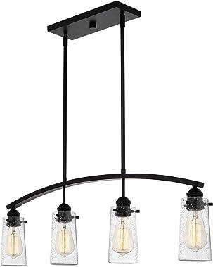 "Kira Home Rayne 33"" 4-Light Modern Farmhouse Arched Island Light, Seeded Glass Shades + Black Finish"