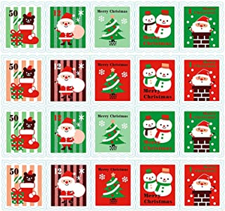 ALIMITOPIA Christmas Sticker Stamp Shape Self-Adhesive DIY Sticker Xmas Santa Gift Sealing Decoration Paster Baking Packing Label Envelope Seals(10 Sheets,100pcs)