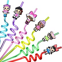 24 LOL Straws for Girls Surprise Birthday Party Supplies | Party Favors with 2 Cleaning Brush