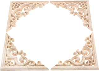 4pcs Vintage Wood Carved Decal Corner Onlay Applique Frame Furniture Wall Unpainted for Home Cabinet Door Decor Craft 11x11cm
