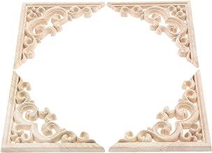 MUXSAM Vintage Madera Tallada para Esquina Onlay Applique Marco Pared sin Pintar para decoración de la casa para Puerta de Armario Muebles Craft