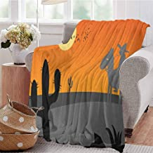 Southwestern Bedding Microfiber Blanket Cartoon Style Hot Mexico Desert Landscape with Saguaro Cactus and Horse Rider Super Soft and Comfortable Luxury Bed Blanket W80 x L60 Inch Multicolor