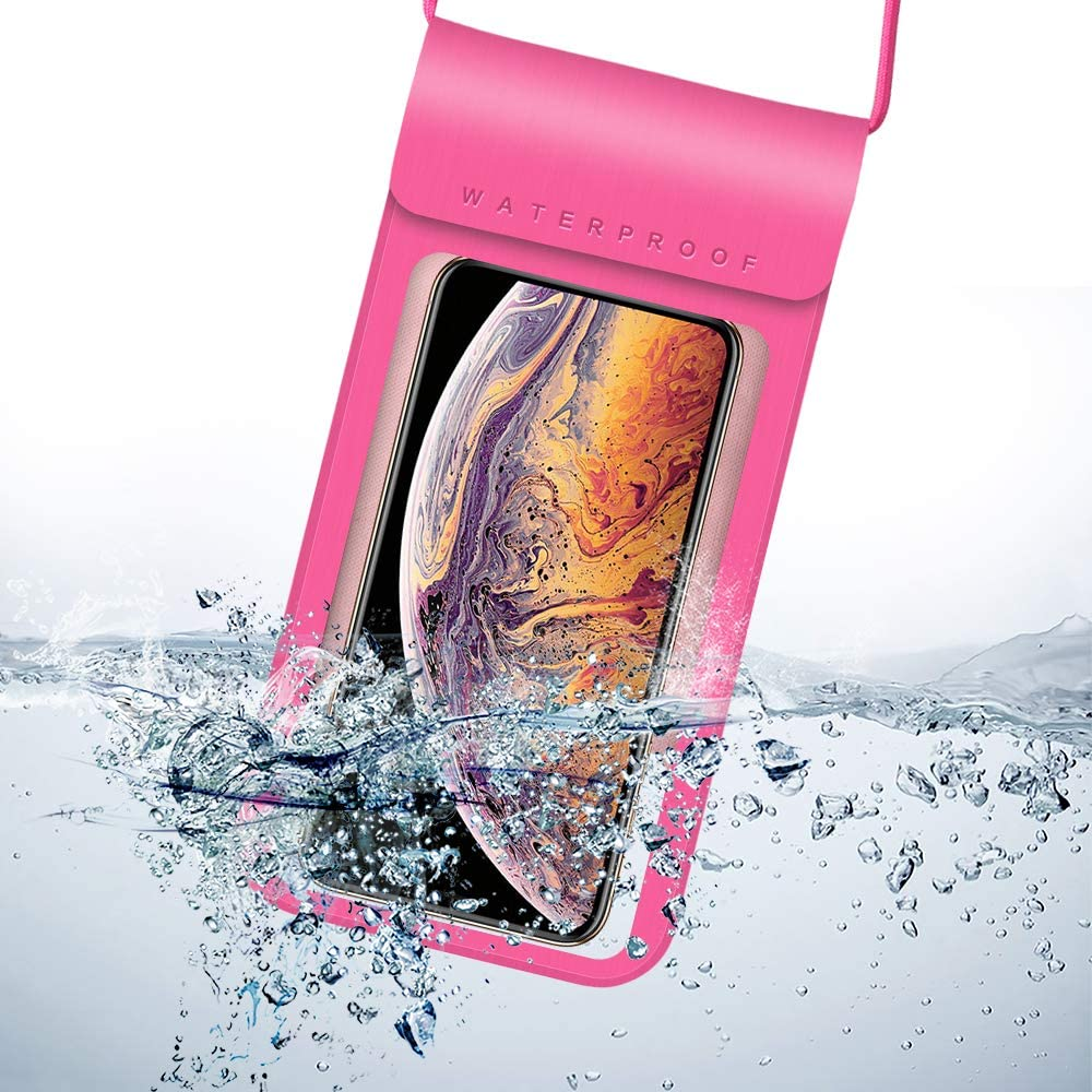 Universal Waterproof Case Cellphone Dry Bag Pouch Compatible for Apple iPhone 12 Pro Max/Huawei Mate 40 Pro / P40 / LG Harmony 4 / Motorola Moto G Fast Power Stylus/Sony Xperia 5 10 II (Pink)