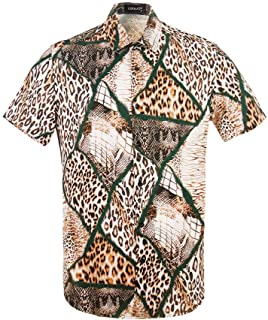 Mens Snakeskin Leopard Crocodile Creative Animal 3D Printing Shirt Funny Graphic Short Sleeve Shirts