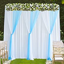 White Blue Tulle Backdrop Curtain for Parties Weddings Baby Shower Birthday Photography Photo Drape Backdrop Stage Curtain 10 ft X 7 ft