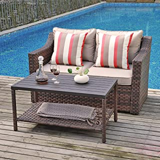 SUNSITT 2-Piece Outdoor Furniture Set Brown Wicker Loveseat Beige Cushions & Coffee Table with Aluminum Top, Throw Pillow Included