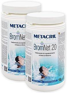 Metacril Brom Net 20 1 kg x 2 unidades Bromo de lento en pastillas de 20 g para piscina e hidromasaje (Teuco, Jacuzzi, Dimhora, Intex, Bestway, etc.).