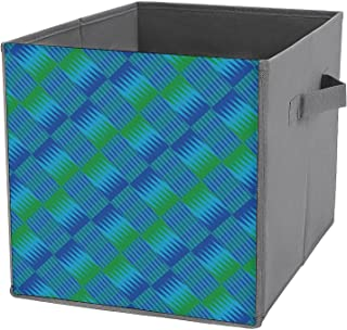Cube de rangement moderne africain en toile bleue et verte - Panier de rangement pliable pour la maison - Grande capacité...
