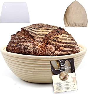 9 Inch Banneton Proofing Basket Set - Bread Proofing Basket + Linen Liner Cloth + Dough Scraper for Professional & Home Bakers-Rising Round Crispy Crust Baked Bread Making Dough Loaf Boules