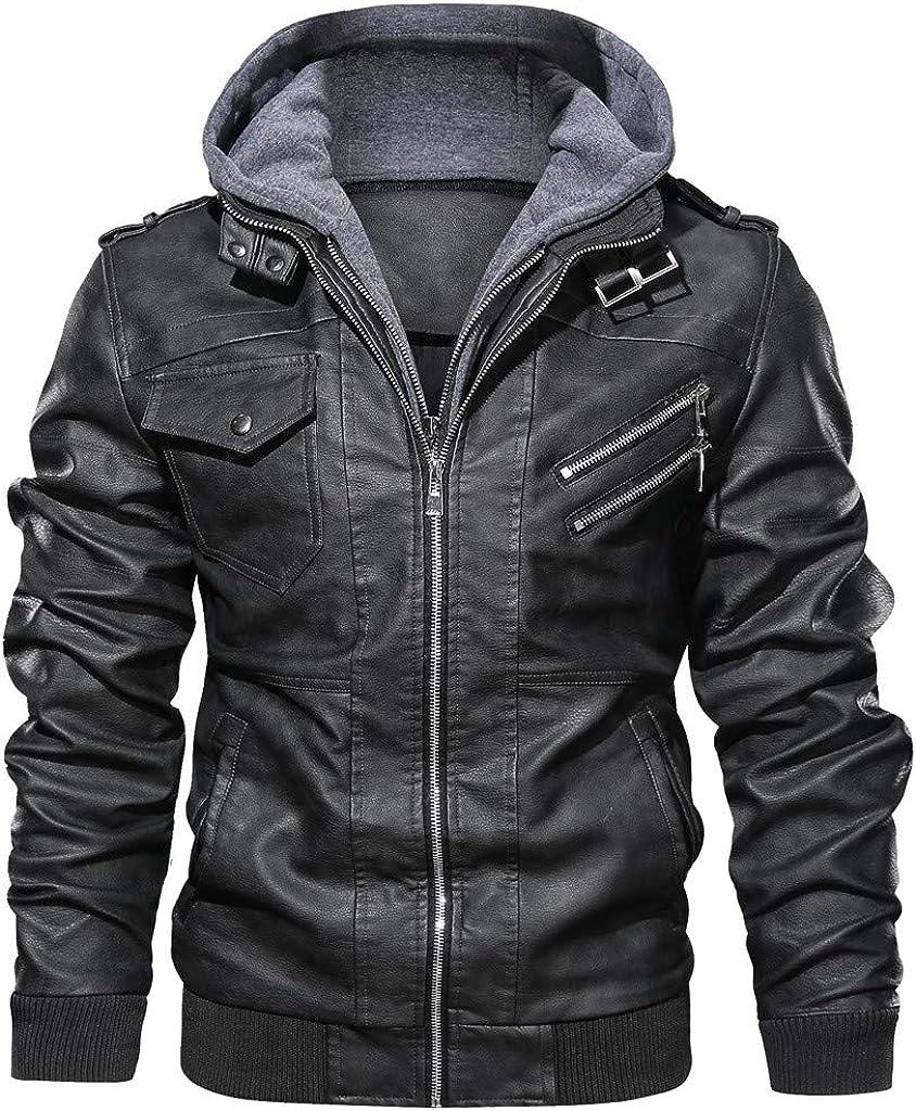 iLXHD Men's Long Sleeve Autumn Winter Vintage Zipper Hoodie Pure Color Imitation Leather Coat