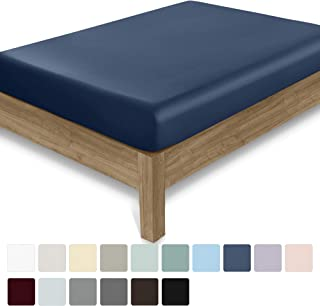 California Design Den 400 Thread Count 100% Cotton 1 Fitted Sheet Only, Indigo Batik Full Fitted Sheet, Long - Staple Combed Pure Natural Cotton Sheet, Soft & Silky Sateen Weave