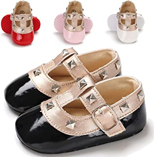 Baby Girl Mary Jane Flats Shoes Non Slip Soft Sole Infant Toddler First Walker Wedding Princess Dress Crib Shoes