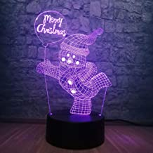 for Boyfriend Novelty Handsome Snowman 3D RGB LED Lamp 7 Color Changing Night Light Sleeping Atmosphere   Kid USB Base Chr...