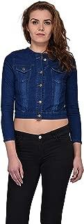 G.S.A ENTERPRISES 3/4 Sleeves Round Neck Dark Blue Women's Denim Jacket
