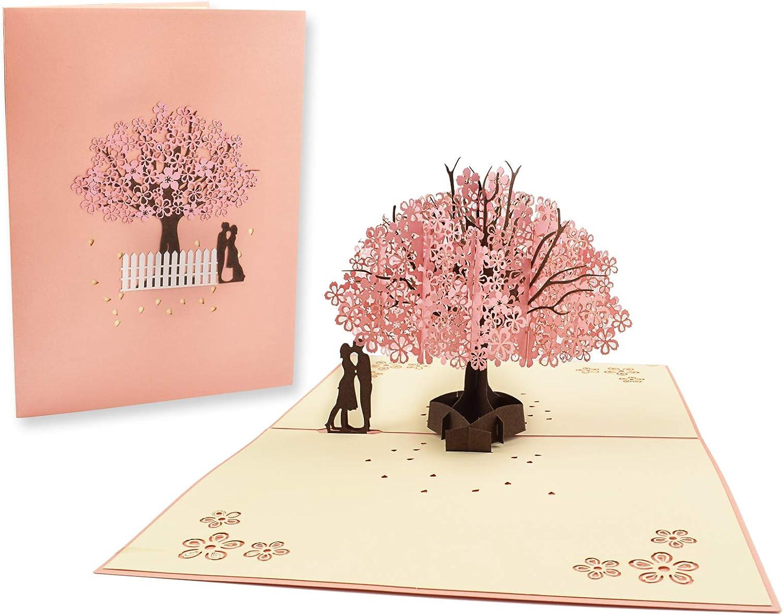CTZD Cherry Blossom Philadelphia Mall Pop Up Card 3D Fashion Cards Greeting Handmade Popup