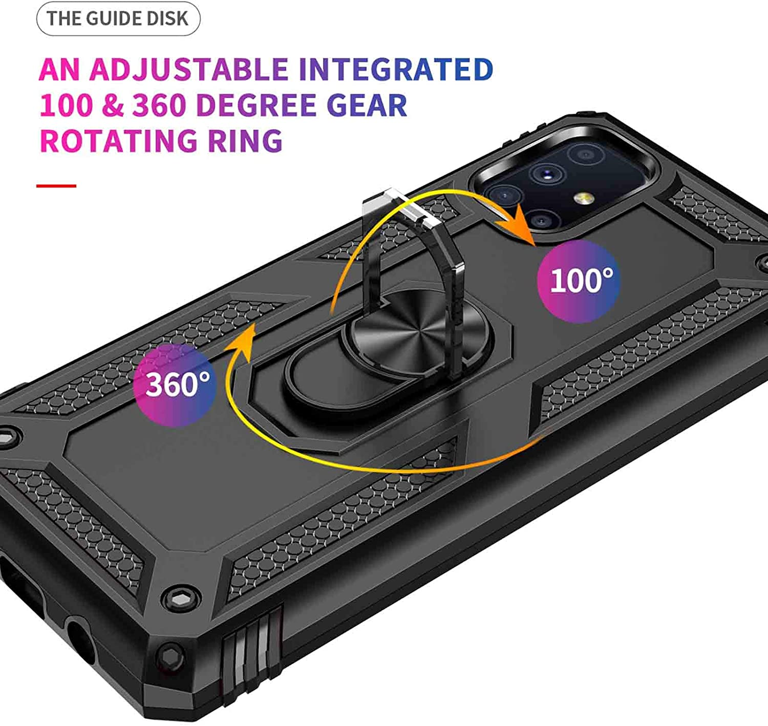 KERUN Case for Samsung Galaxy M51 With Stand Ring Holder Kickstand Black TPU Shockproof Cover with Magnetic Car Mount Function Heavy Duty Armor Anti-Slip Anti-Scratch Double Layer PC