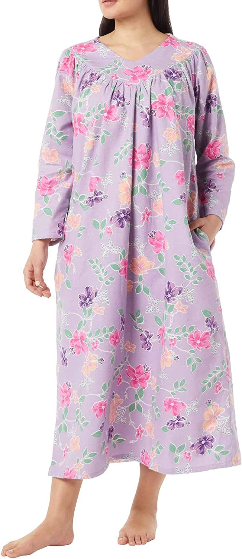 AmeriMark Women's Floral Print Flannel Long Night Gown – 100% Cotton Sleep Dress