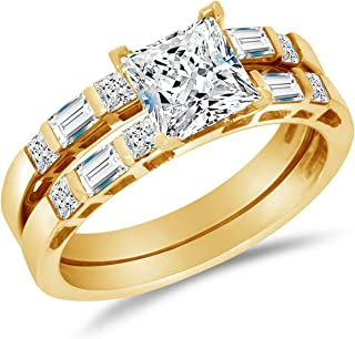 Solid 14k Yellow Gold CZ Cubic Zirconia Invisible Set Bridal Engagement Ring w/Matching Wedding Band Two Ring Set - Princess Cut Solitaire with Baguette Side Stones (2.0cttw, 1.0ct. Center)