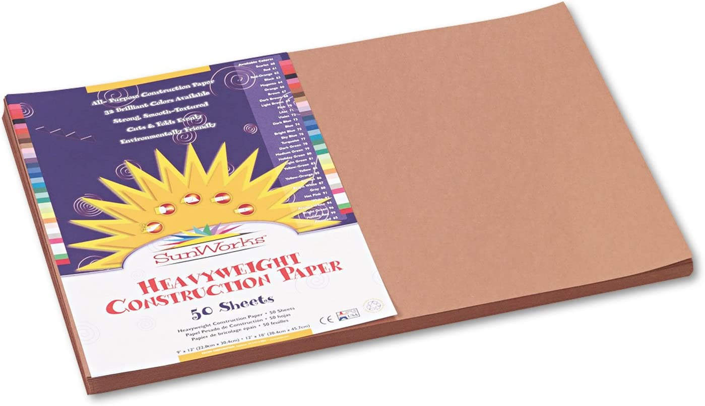 SunWorks 6907 Construction Paper 58 lbs Brand new 18 12 Now free shipping x Brown Light