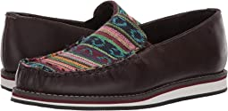 Brown Leather Vamp/Serape Fabric Upper