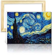 ufengke Wooden Frame Van Gogh Starry Night 5D Diamond Painting Kits DIY Full Drill Diamond Embroidery Cross Stitch Sets for Beginners Craft Lovers