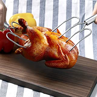 Tafond Stainless Steel Turkey and Poultry Lifters Roast Ham Chicken Carving Forks BBQ Tool,Set of 2