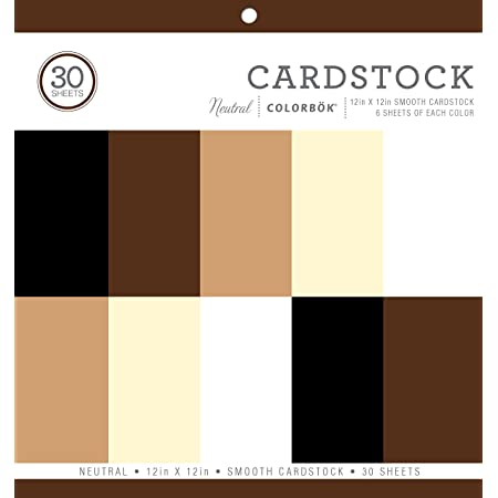 """Colorbok 61198B Neutral Smooth Cardstock Paper Pad, 12"""" x 12""""- 6 sheets of 5 different Neutral colors."""