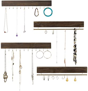 """Large Wall Mounted Jewelry Organizer. 17"""" Inches Wide Rustic Display with Hooks for Hanging Rings, Earrings, Necklace..."""