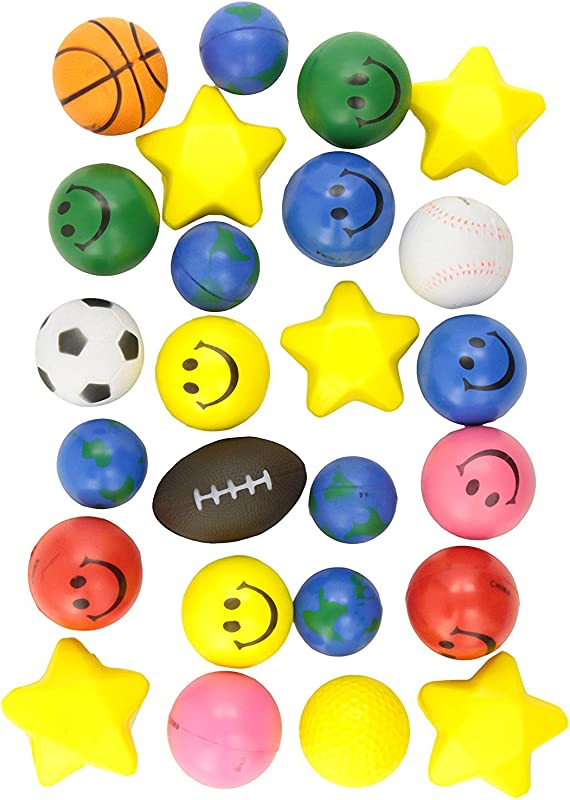 24 Stress Balls Bulk Stress Relief Toys Assortment 2 5 Stress Balls Smile Face Globe Sport Balls Hearts And Stars For Treasure Box Classroom Prizes Party Favors Or Just To De Stress 2 Dozen Assorted Designs And Colors For Kids Adults And Teens