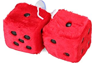 Mrcartool 3 inch Pair of Retro Square Mirror Hanging Dice Couple Fuzzy Plush Dice with Dots for Car Interior Ornament Decoration (Red)