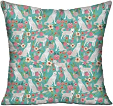 FJPT Throw Pillow Cover Cute Jindo Floral Rose Garden Cotton Pillowslip for Sofa Bed Stand Size Pillowcase 22x22 Inch