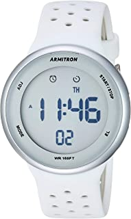Armitron Sport Unisex 40/8423SWT Digital Chronograph White and Grey Perforated Silicone Strap Watch
