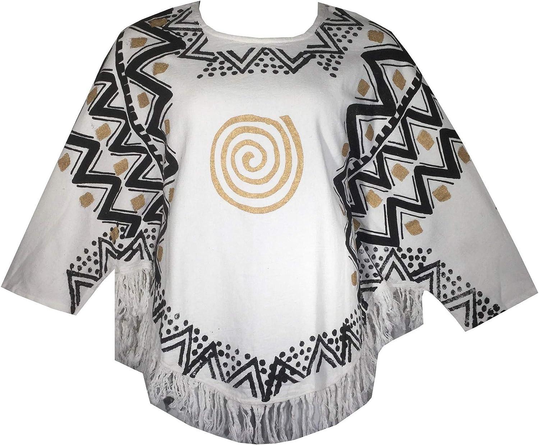 Decoraapparel African Dashiki Blouse Mud Cloth Vintage Shirt Women Hippie Cotton Poncho