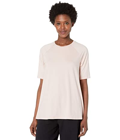 Eileen Fisher Fine Jersey Crew Neck Elbow Sleeve Top (Powder) Women