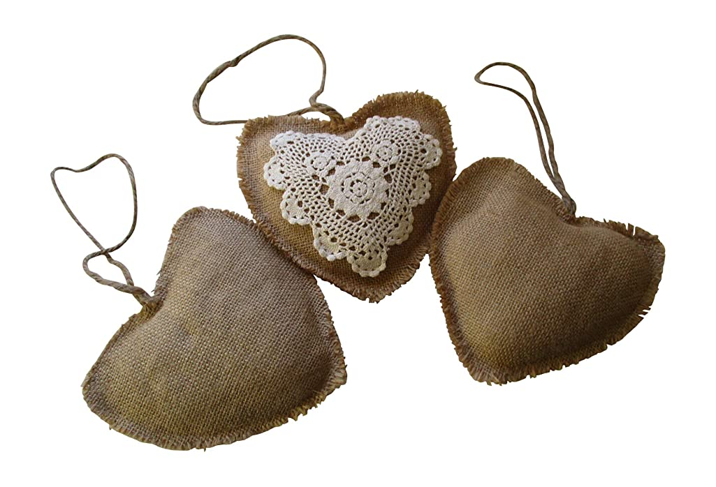 From The Attic Crafts Burlap and Lace Hearts Bowl Vase Fillers Wedding Decor Set of 3