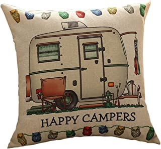 Do4U Printed Cotton Linen Square Happy Campers Pattern The Campers Gifts Sofa Simple Cushion Pillow Cover Cases 18x18 Inches Birthday Gift Campers Gifts