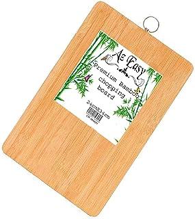 Tabla de cortar de bambú Az Easy Premium | perfecta para alimentos, carne, verduras, pan y queso | Tabla de cortar de madera para cocina, tabla de servir (24 x 34 x 1,8 cm)