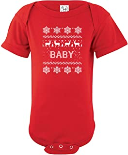 Crazy Bros Tees Baby Ugly Xmas Sweater Funny Cute Novelty Christmas Infant One-Piece Baby Bodysuit