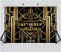 WOLADA 7x5ft Great Gatsby Birthday Party Photo Backdrops Happy Birthday Party Background Black and Gold Golden Banner Photo Studio Booth 11075