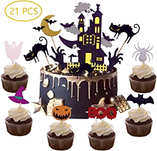 Halloween Cake Toppers,21pcs Halloween Cupcake Toppers Cake Picks Haunted House Cake Decoration Halloween Party Decoration Supplies