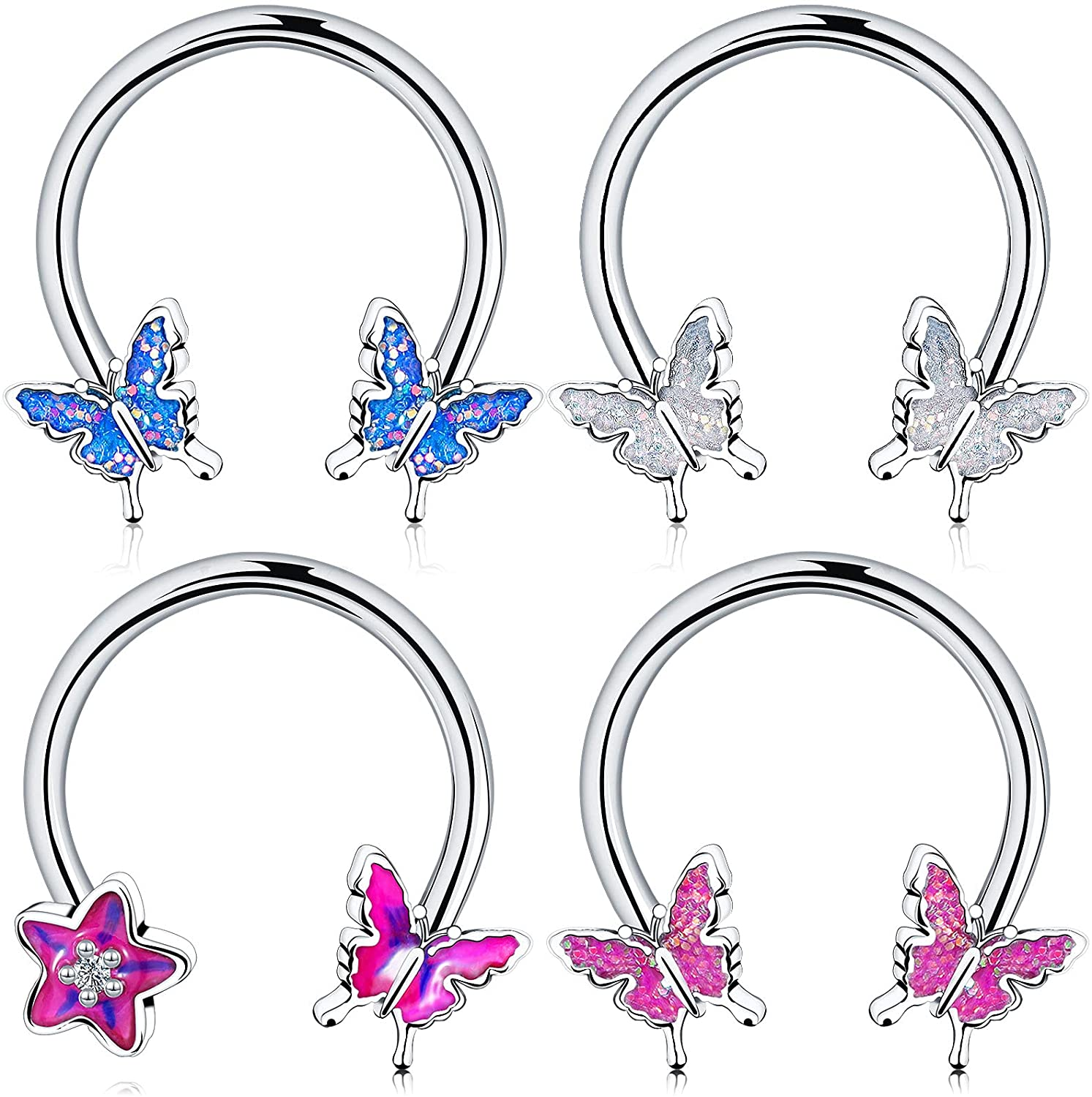 4 Pieces Septum Ring Horseshoe Hoop Ring 16g Butterfly Nose Rings Earring Cartilage Earring Hoop Captive Bead Rings Tragus Daith Rook Helix Piercing Body Jewelry for Women Man