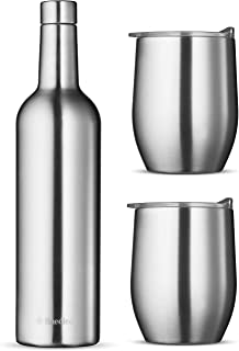 Wine Chiller Gift Set - Vacuum Insulated Wine Bottle 750ml & Two Wine Tumblers With Lids 16oz. Made of Shatter Proof 18/8 Stainless Steel & BPA FREE Lids, Perfect Wine Glasses for Travel, Picnic, Etc.