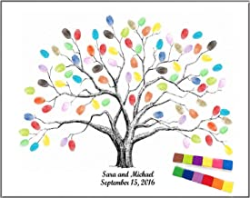 Thickening Waterproof Fingerprints Tree, 23.6'' Creative DIY Guest Signature Sign-in Book Canvas Fingerprints Tree Painting for Wedding Birthday Party with 12 PCS Ink Pads