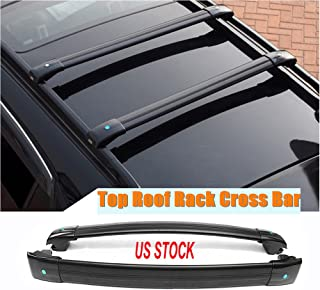 MotorFansClub Black Aluminum Top Roof Rack Cross Bar, Luggage Rack Cargo Rail for Jeep Cherokee 2014-2019