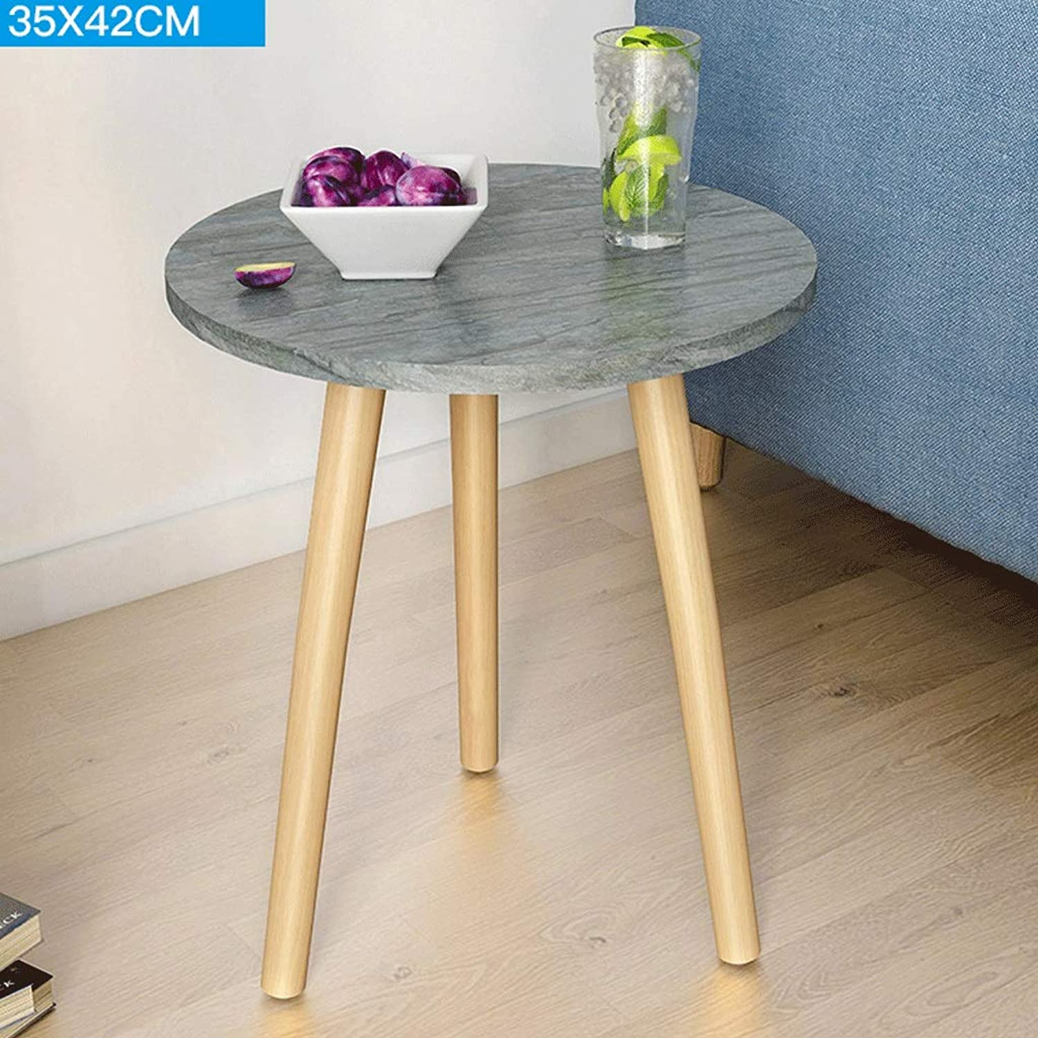 Coffee Table, Wood Grain Paper Small Round Coffee Table Bedside Table, Sofa Side Table, Simple Corner Side Storage Small Table Solid Wood Table Legs, Multi-Function Table (color   A2, Size   35CM)
