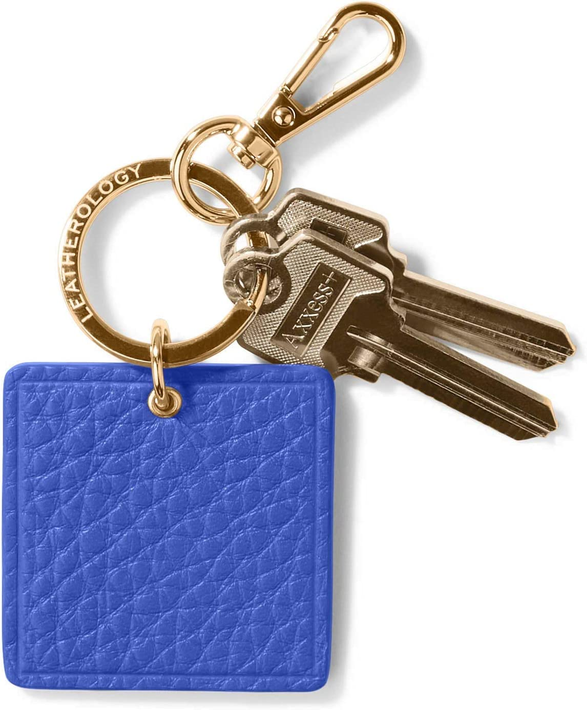 Leatherology Electric Blue Square Keychain