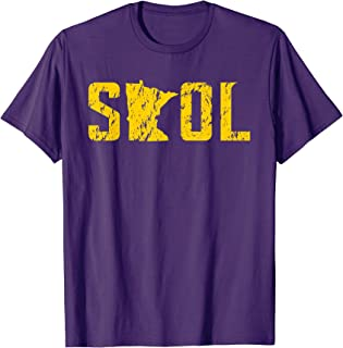 SKOL Helmet Distressed Viking Vintage Purple and Yellow Tee T-Shirt